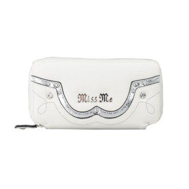 Woman White Long Zipper Around PU Wallet