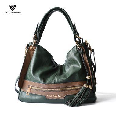 Green Lady PU Shoulder Hobo Bag with Fringe Tassel Pandent