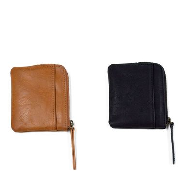 Simple Design Zip Around PU Leather Coin Pouch