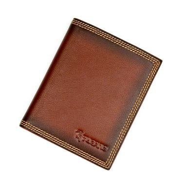 Man Triple Stitched Brown Leather Wallet with Shadowed Edge