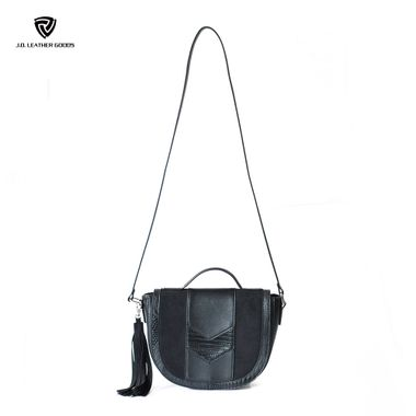 Black PU & Microfiber Material Lady Saddle Bag with Tassel Pandent