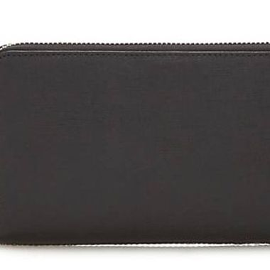 Genuine Leather Black Woman Wallet with zipper