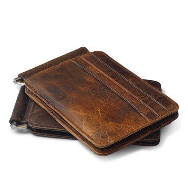 Vintage Genuine Leather Men Money Clip Wallet