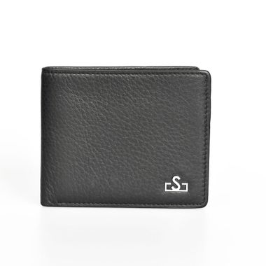 Man Genuine Leather Card Wallet with Logo Lining