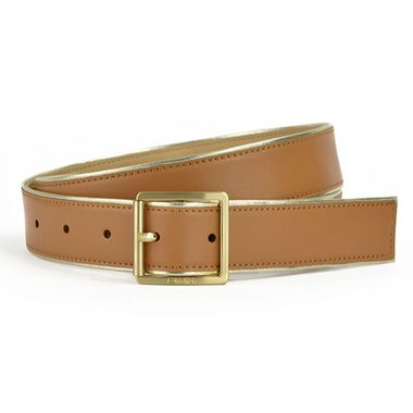 Women Brown PU Stitching Belt