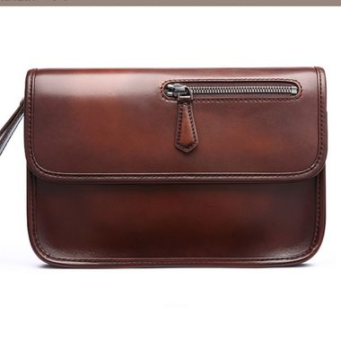Men Hand Painting Leather Clutch Bag