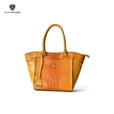 Yellow High Quality PU Crocodile Texture Double Handles Handbag