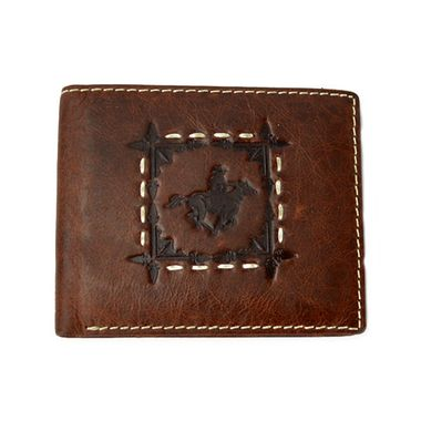 Man Vintage Bifold Cow Leather Wallet with Stitched Around Stamped Logo
