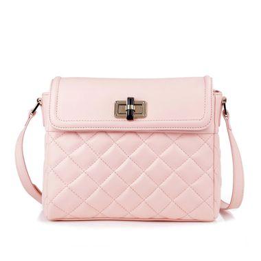 Pink Women Quilted Leather Shoulder Bag Handbag