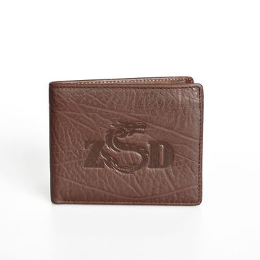 Brown Leather Bifold Wallet with Flap Out ID Window