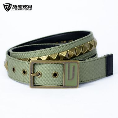 Men Webbing Belt with Studded Metal Claw Nails Rivets