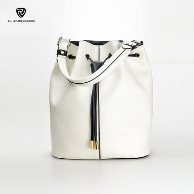 White Drawstring Closure Single Top Handle Lady PU Bucket Bag
