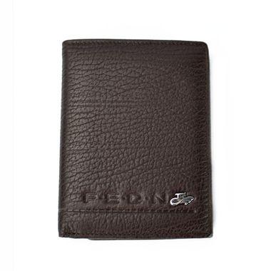 Man Brown Vertical Leather Wallet with Internal Zip Pocket