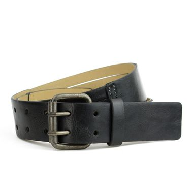 Women Fashion Black PU Belt with Double Prong Buckle