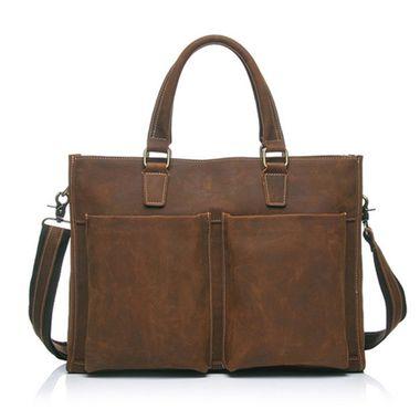 Men Brown Crazy Horse Leather Laptop Bag