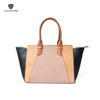 Top Handles Lady PU Leather Multi-Block Patchwork Handbag