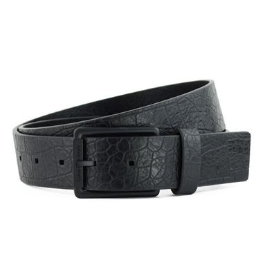 Fashion Alligator Textured Leather Belt with Blue Tab
