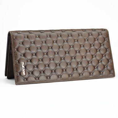Man Long Bi-Fold Genuine Leather Wallet with Metal Label