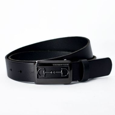 Ladies Leather Belt with Black Alloy Buckle