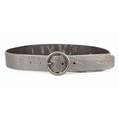Women Silver Crashed Leather Belt