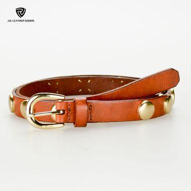 Golden Hardwares Brown Studded Genuine Leather Belt