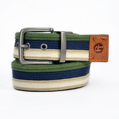 Striped Webbing Belt with Leather Tip