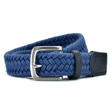 Men's Dark Blue Leather and Webbing Belt