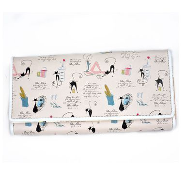 Trifold Printed PU Long Purse with Magnetic Closure