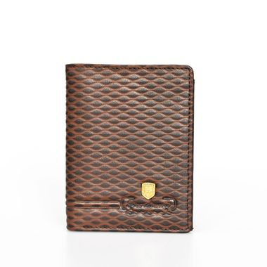 Man Brown Dot Embossed Leather Wallet wit Zip Pocket