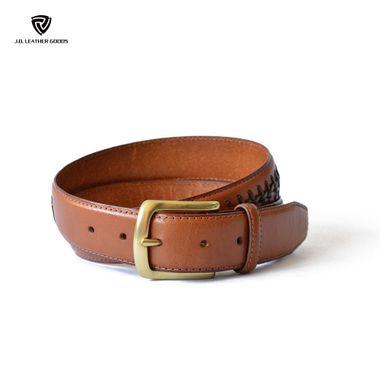 Men Brown Braided Genuine Leather Golf Belt