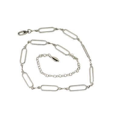 Woman Silver Shiny Metal Chain Belt