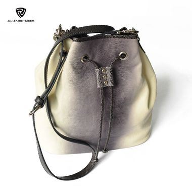 White Lady Genuine Leather Designer Bucket Bag with Drawstring Closure