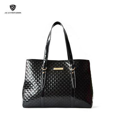 Black Women Fashion Debossed Pattern PU Top Opening Tote Bag