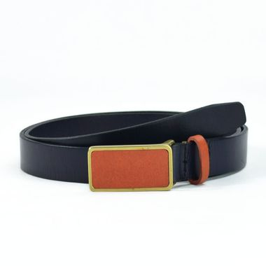 Ladies Dark Blue Leather Belt with Leather Stitched Buckle