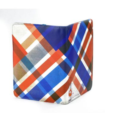 Colorful Stripes Printed Vertical Bifold Leather Wallet
