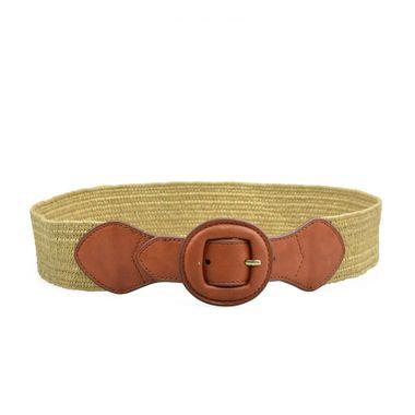 Split Leather Webbing Women Belt with Leather Tab & Tip