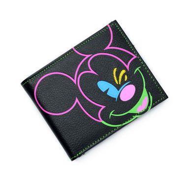 Black Mickey Mouse Printed Bi-Fold PU Wallet