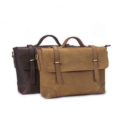Vintage Laptop Men Genuine Leather Shoulder Messenger Bag