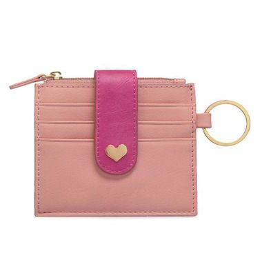 Pink Women Genuine Leather Card Holder with Key Ring