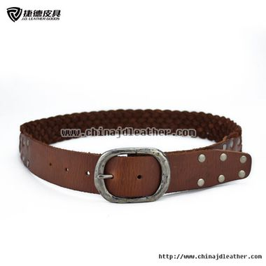 Women Braided Cowhide Belt with Rivets