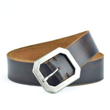 Men Debossed Grooved Leather Belt