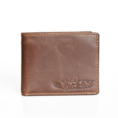 Men Brown Leather Wallet with Internal Zip Pocket