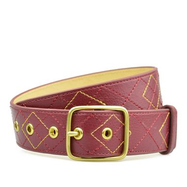 Stitched PU Leather Belt for Women with Single Prong Buckle