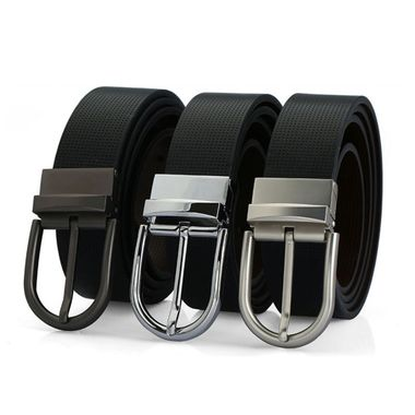Split Genuine Leather Belt with Reversible Pin Buckle
