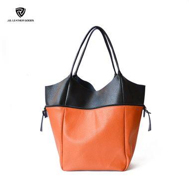 Brown Magnetic Snap Closure Women PU Dual-use Handbag