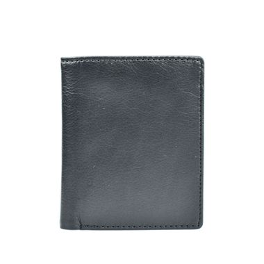 Man Black Genuine Leather Bifold Horizontal Wallet