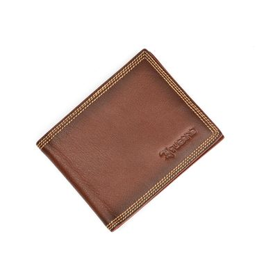 Man Brown Leather Wallet with Internal Contrast Color Design