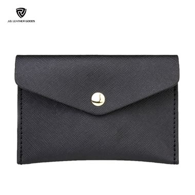 Black Saffiano Leather Name Business Card Holder for Women