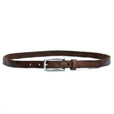 Ladies Brown Skinny Genuine Leather Belt