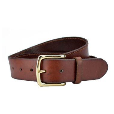 Men Alloy Buckle Brown Leather Belt